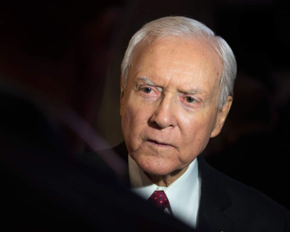 Steve Griffin |  Tribune file photo  Sen. Orrin Hatch visits with supporters during Republican Party Election Night Victory Party at Rice-Eccles Stadium on the campus of the University of Utah in Salt Lake City Tuesday November 8, 2016.