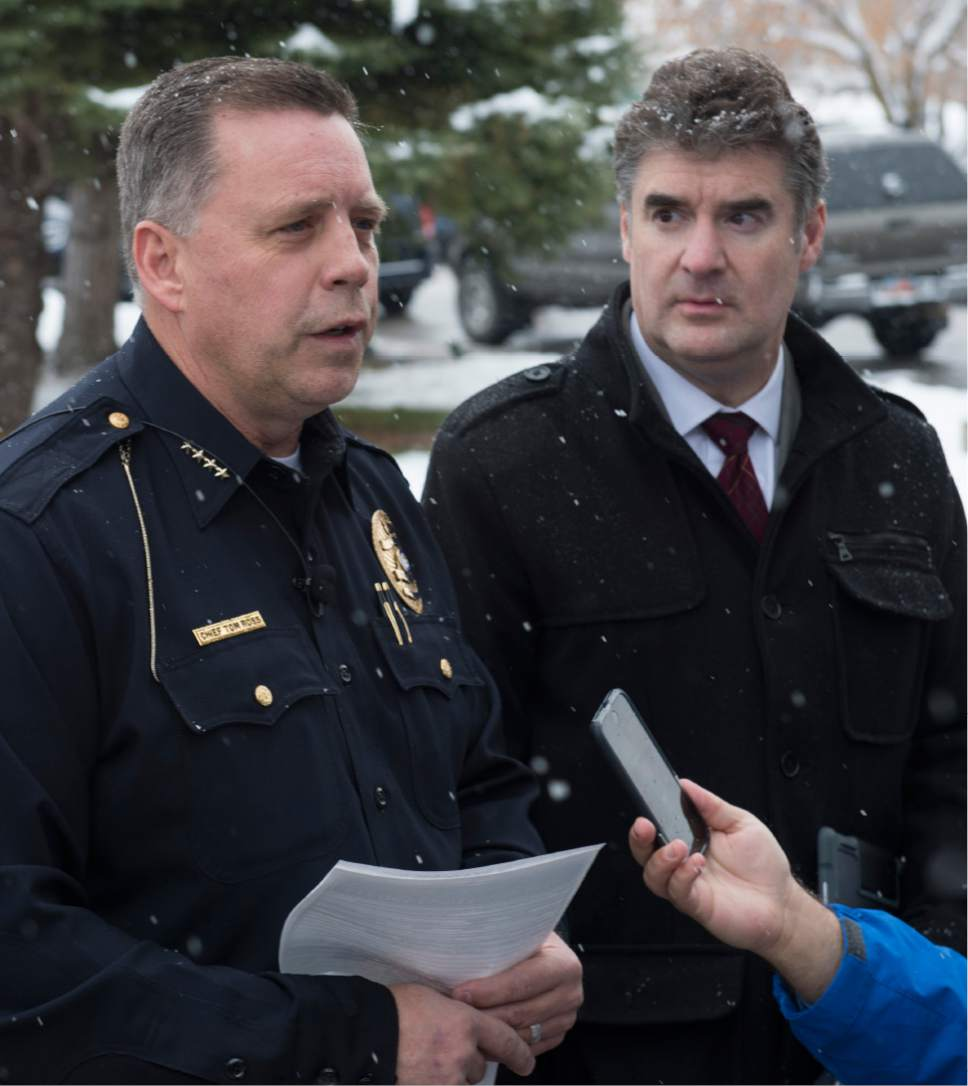 Rick Egan  |  The Salt Lake Tribune  Bountiful Police Chief Tom Ross speaks at a press conference along with Chris Williams, Davis School District, after a shooting at Mueller Park Jr. High, in Bountiful, Thursday, December 1, 2016.