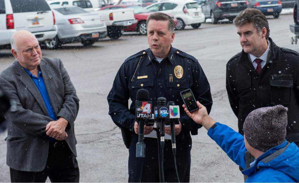 Rick Egan  |  The Salt Lake Tribune  Bountiful Mayor Randy Lewis, Bountiful Police Chief Tom Ross, and Chris Williams, Davis School District, give a press conference after a shooting at Mueller Park Jr. High, in Bountiful, Thursday, December 1, 2016.