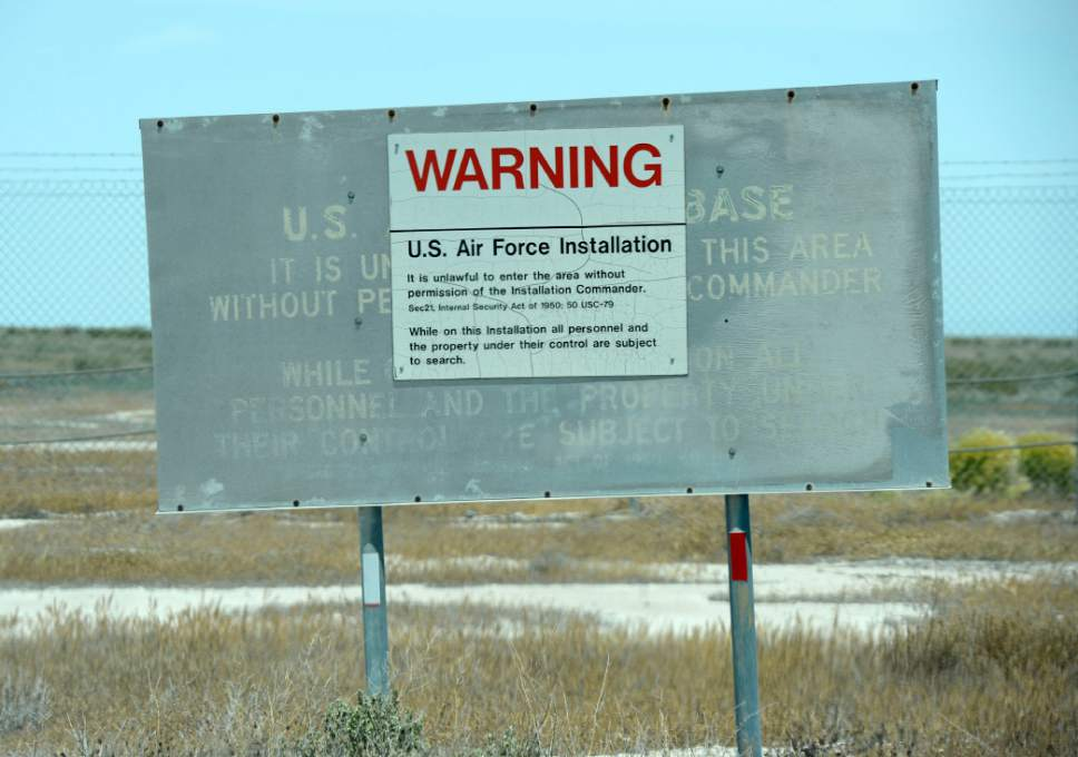 Al Hartmann  |  The Salt Lake Tribune Warning sign upon entering the Utah Test and Training Range in western Utah.