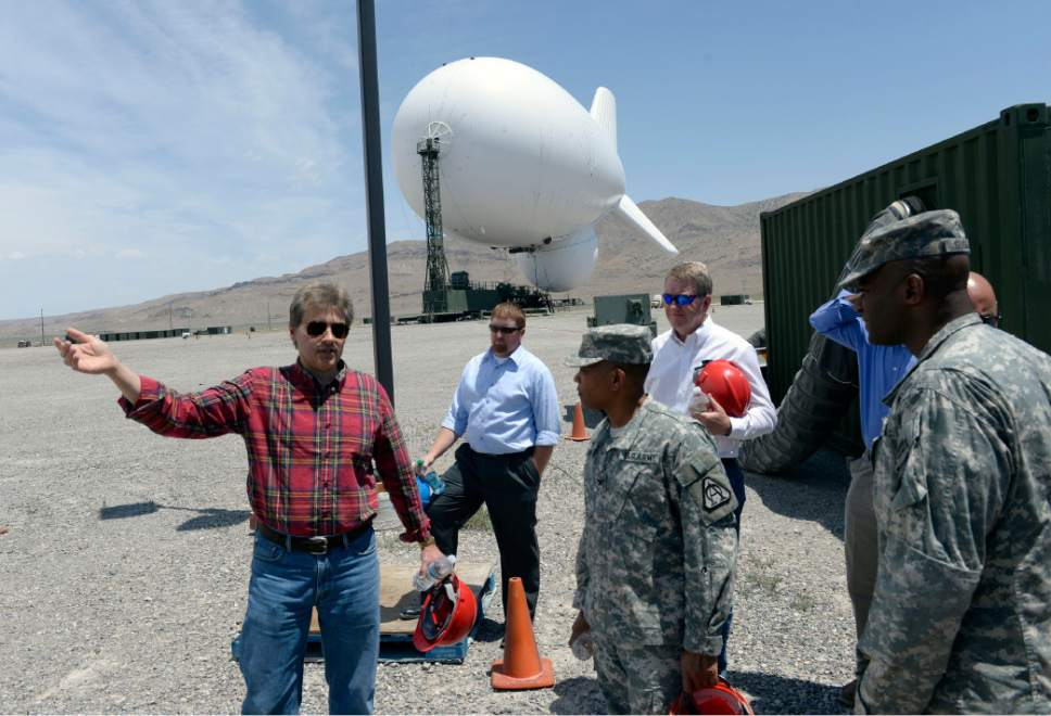 Al Hartmann  |  The Salt Lake Tribune Officials from Raytheon and U.S Army battery tour the JLENS a last time at Utah Test and Training Range June 10, 2014.