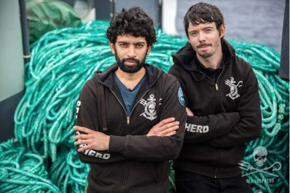 "   Animal Planet  Sid Chakravarty, captain of the Sam Simon, and Peter Hammarstedt, captain of the Bob Barker, in ""Ocean Warriors."""