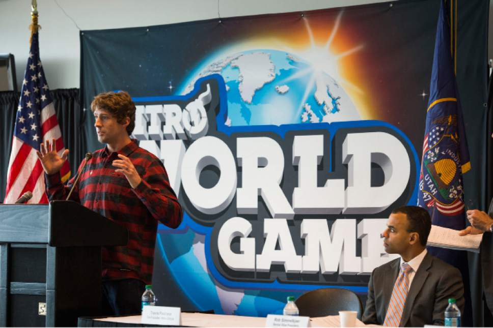 Steve Griffin     The Salt Lake Tribune  Travis Pastrana, Nitro World Games co-founder, talks during a press conference announcing the inaugural Nitro World Games at the University of Utah's Rice-Eccles Stadium in Salt Lake City, Monday, December 7, 2015. The event will be held at Rice-Eccles Stadium July 16, 2016.
