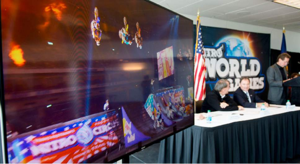 Steve Griffin     The Salt Lake Tribune  A video of the Nitro Circus plays during a press conference announcing the inaugural Nitro World Games at the University of Utah's Rice-Eccles Stadium in Salt Lake City, Monday, December 7, 2015. The event will be held at Rice-Eccles Stadium July 16, 2016.