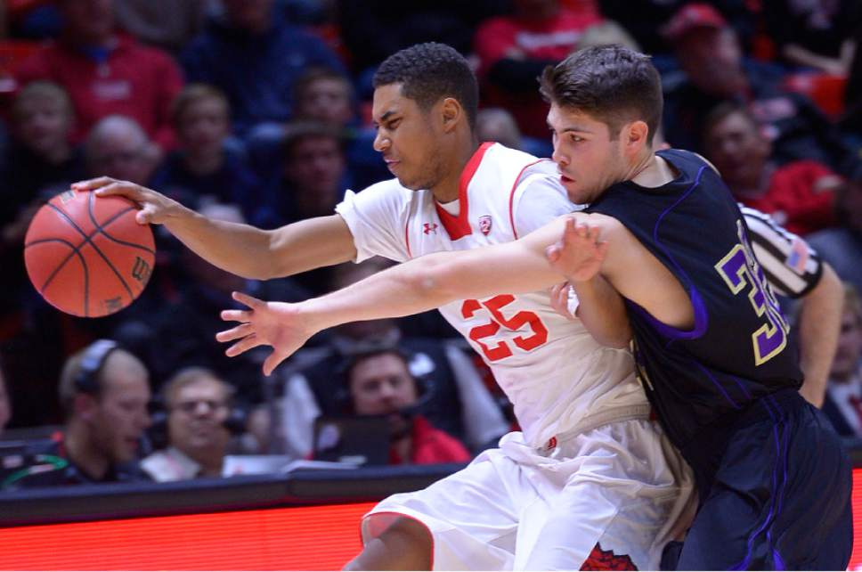 Leah Hogsten     The Salt Lake Tribune Utah Utes guard Kenneth Ogbe (25) and Carroll College's Ryan Imhoff battle for a loose ball.The University of Utah defeated Carroll College 85-49, Tuesday, December 30, 2014 at the Jon M. Huntsman Center.