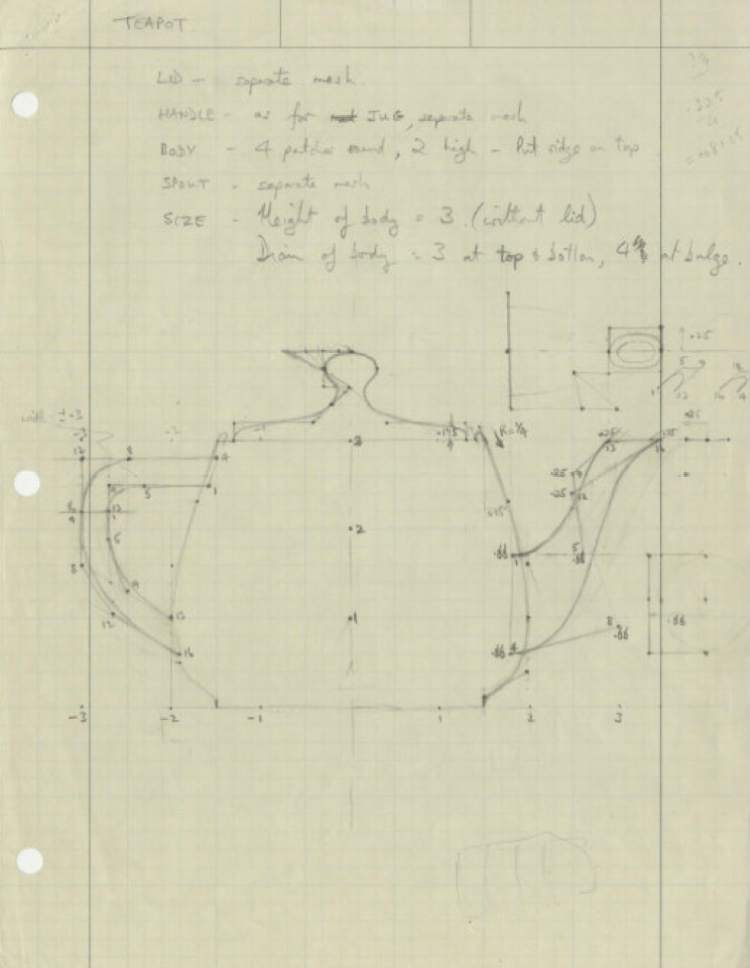    Courtesy of Computer History Museum  Coordinates for a three-dimensional teapot sketched by University of Utah researcher Martin Newell in 1975. Newell's teapot ó due to its properties and the availability of Newell's coordinates ó would become a standard model for computer graphics researchers and designers who were testing their techniques, and later the subject of pop culture homages.