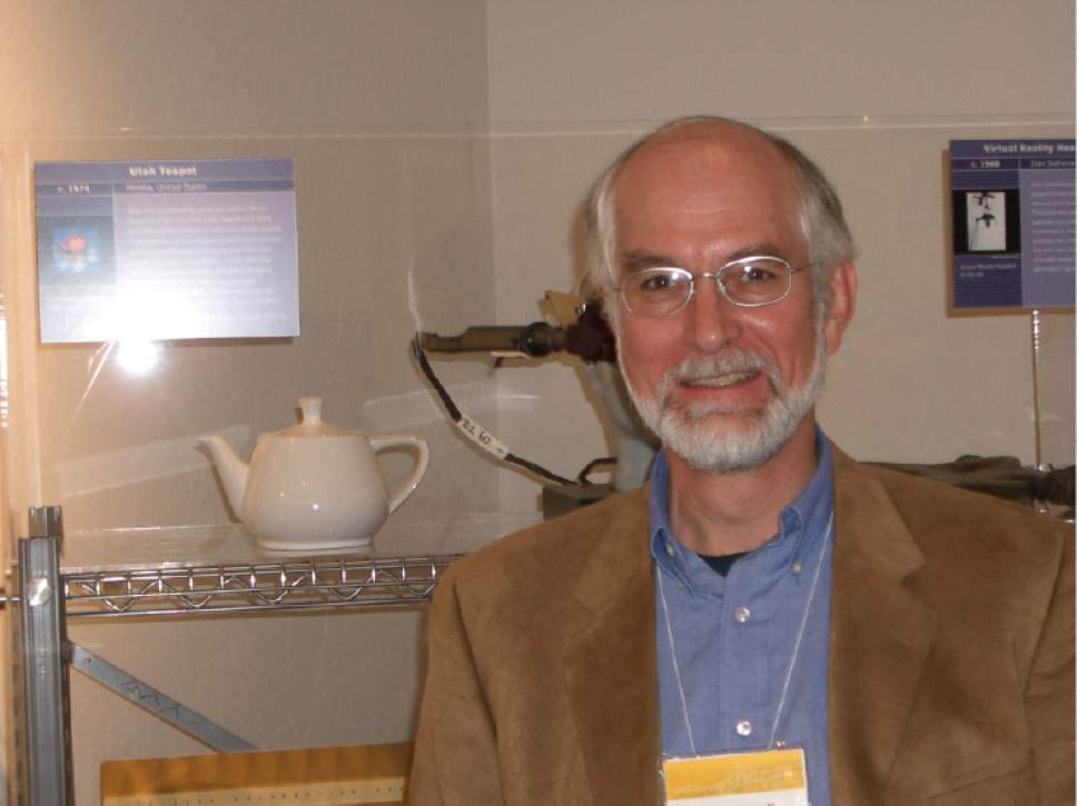 |  Courtesy of Martin Newell  Former University of Utah researcher Martin Newell poses with his famous teapot at the Computer History Museum in Mountain View, Calif. Newell plotted a three-dimensional model of the teapot after an afternoon tea with his wife, Sandra, and shared the coordinates with other graphics researchers throughout the world.