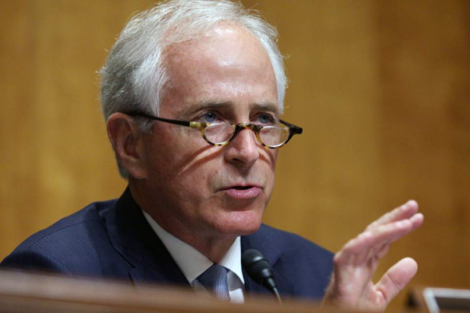 Senate Foreign Relations Committee Chairman Sen. Bob Corker, R-Tenn., talks on Capitol Hill in Washington, Tuesday, June 28, 2016, as Special Presidential Envoy Brett McGurk, the U.S. representative to the anti-Islamic State coalition, testified before the committee.  (AP Photo/Lauren Victoria Burke)