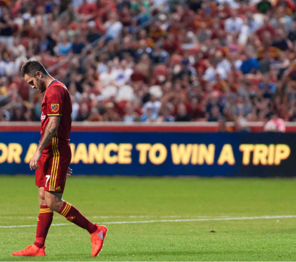 Michael Mangum  |  Special to the Tribune  Real Salt Lake forward Juan Manuel Martinez (7) walks away from a failed RSL attack late in the first half of their MLS match against the San Jose Earthquakes at Rio Tinto Stadium in Sandy, Utah on Friday, July 22nd, 2016.