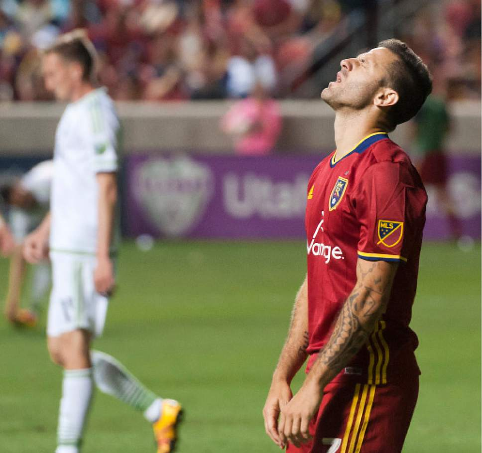 Michael Mangum  |  Special to the Tribune  Real Salt Lake forward Burrito Martinez (7) reacts in despair following a missed chance during their U.S. Open Cup match against the Seattle Sounders at Rio Tinto Stadium in Sandy, UT on Tuesday, June 28th, 2016. The match ended in a 1-1 draw with Seattle advancing after winning in a penalty kick shootout.