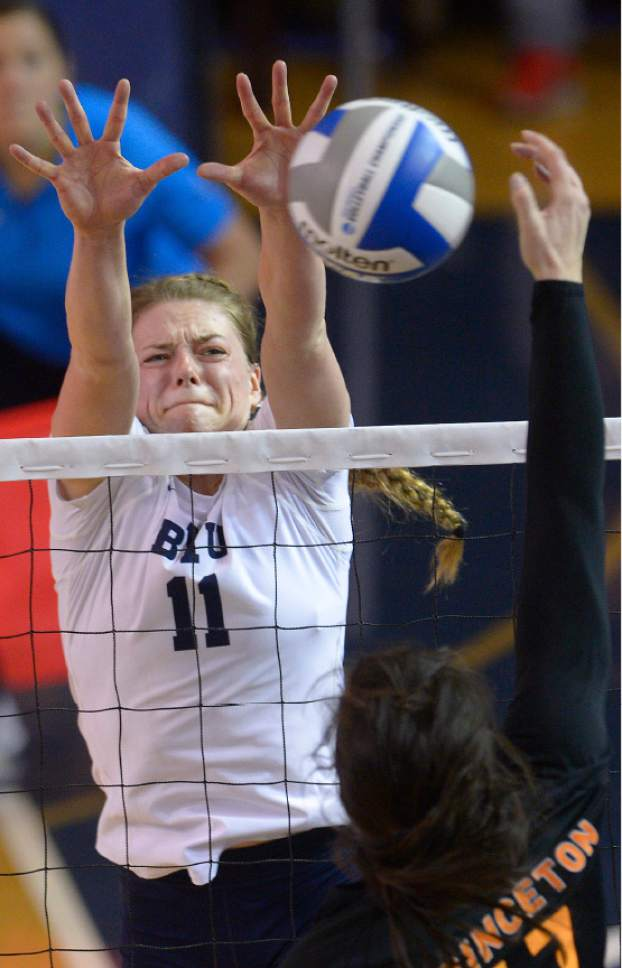 Leah Hogsten  |  The Salt Lake Tribune BYU outside hitter Lacy Haddock (11)makes the block. Brigham Young University women's volleyball team defeated Princton 3-0 during the first round of the NCAA tournament Friday, December 2, 2016 on the campus of Brigham Young University.