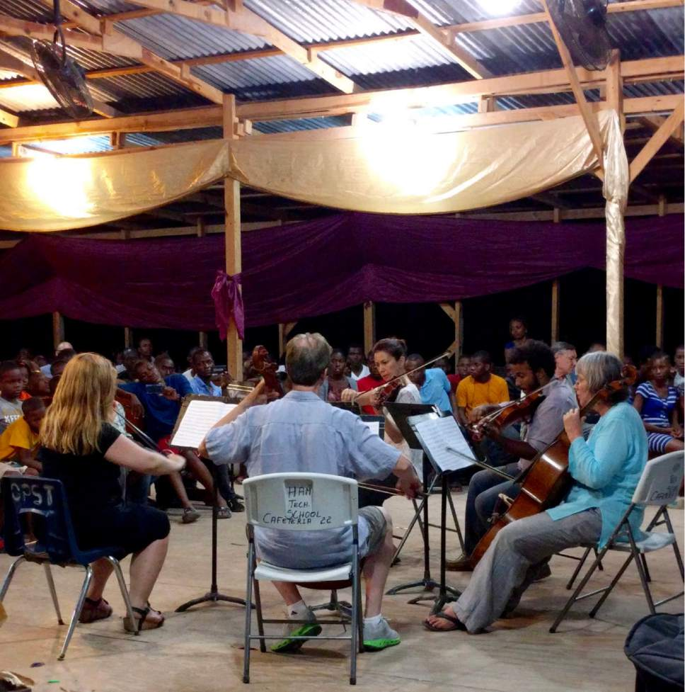 Utah Symphony musicians John Eckstein, Yuki MacQueen and James Hall worked with music students in Haiti this summer and will return in the spring with several of their colleagues and music director Thierry Fischer. James Hall  |  Courtesy