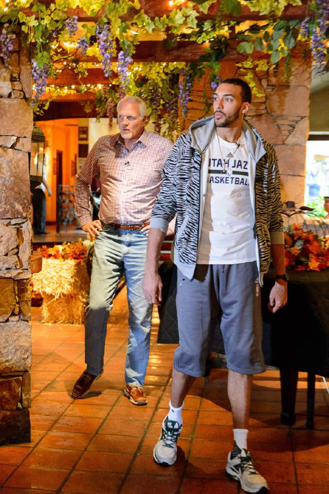 Trent Nelson  |  The Salt Lake Tribune Utah Jazz centers Rudy Gobert and Mark Eaton (retired) talk about shot blocking and playing center in the NBA, at Eaton's restaurant Tuscany in Holladay, Thursday October 27, 2016.