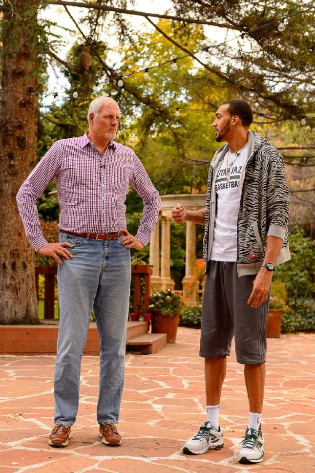Trent Nelson  |  The Salt Lake Tribune Utah Jazz centers Rudy Gobert and Mark Eaton (retired) talk about shot blocking and playing center in the NBA, at Eaton's restaurant Franck's in Holladay, Thursday October 27, 2016.