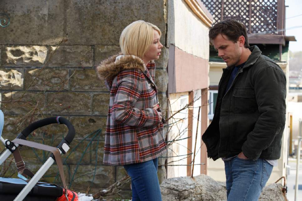 "Lee (Casey Affleck, right) has an uncomfortable reunion with his ex-wife, Randi (Michelle Williams), in a scene from the drama ""Manchester by the Sea."" Claire Folger  