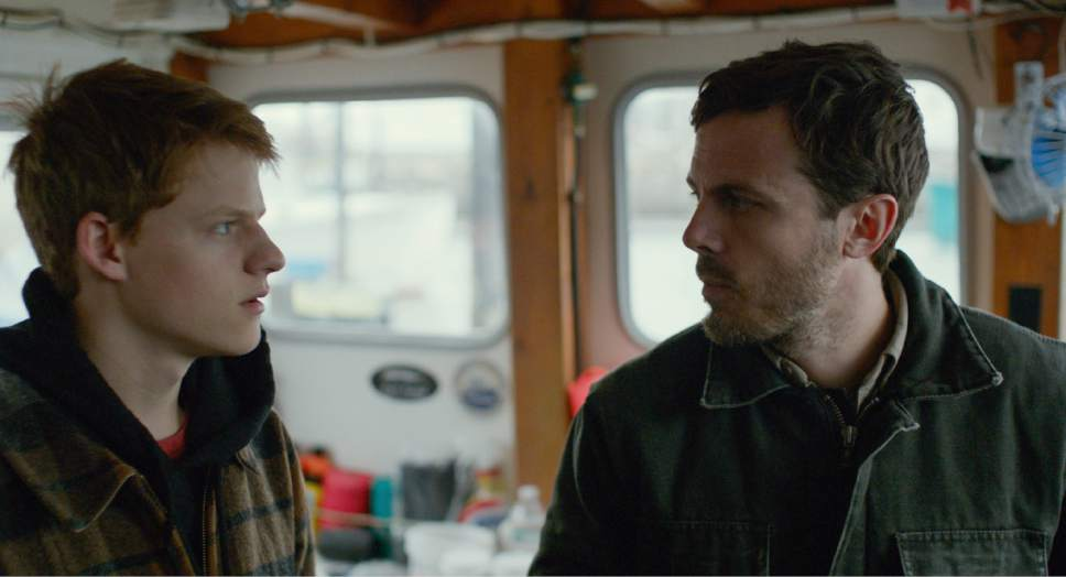 "Lee (Casey Affleck, right) is given custody of his teen nephew Patrick (Lucas Hedges), in a scene from the drama ""Manchester by the Sea."" Claire Folger  