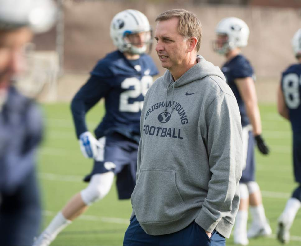 Rick Egan  |  The Salt Lake Tribune  BYU quarterback coach Ty Detmer on the second day of spring practice, in Provo, Thursday, March 3, 2016.