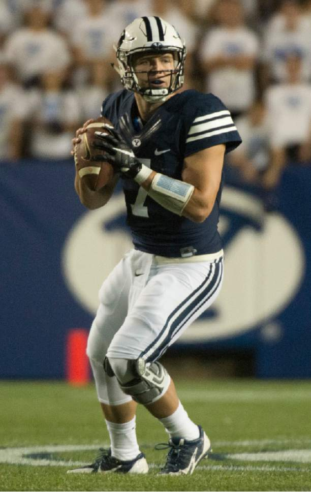 Rick Egan  |  The Salt Lake Tribune  Brigham Young quarterback Taysom Hill (7) looks to pass for the Cougars, in football action, BYU vs, UCLA, at Lavell Edwards Stadium, Saturday, September 17, 2016.