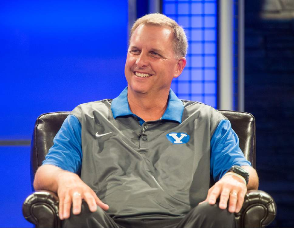 Rick Egan  |  The Salt Lake Tribune  BYU offensive coordinator Ty Detmer talks to the media at the annual football media day at the Broadcasting Building,Thursday, June 30, 2016.