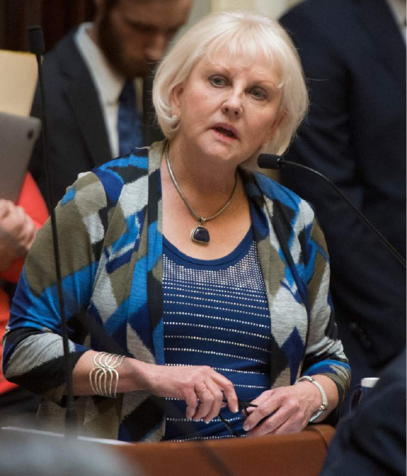 Rick Egan  |  The Salt Lake Tribune  Senator Karen Mayne comments on the medical marijuana bill SB73 on the floor of the senate Friday, February 19, 2016.