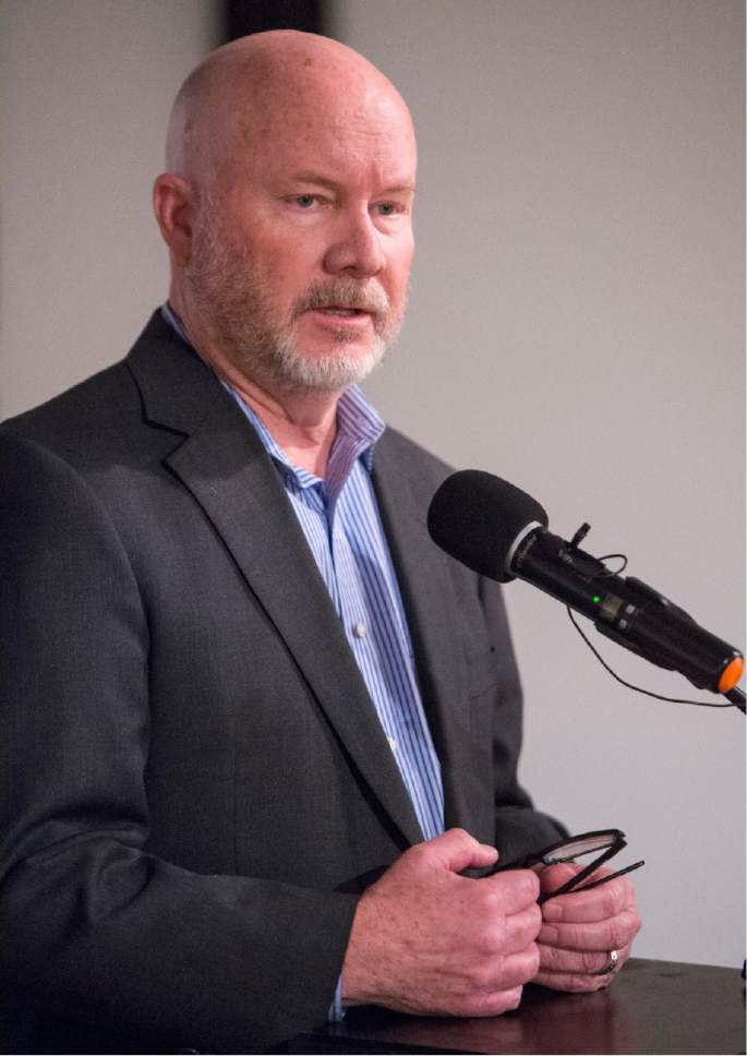 """Rick Egan     The Salt Lake Tribune  Ed Blake, CEO of Salt Lake Habitat for Humanity, speaks Thursday, Dec. 8, at a news conference announcing the opening of the newest exhibit at The Leonardo museum in Salt Lake City, titled """"Where Children Sleep,"""" which examines class, race, hunger, education and a host of issues, all through the lens of a child's bedroom. The exhibit showcases bedrooms from around the world, along with a beautiful portrait of each child by photographer James Mollison."""