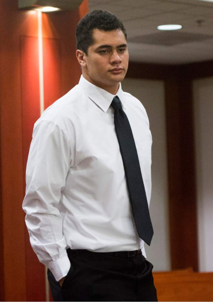 Rick Egan  |  The Salt Lake Tribune  Former Brighton High football star Osa Masina makes his first appearance in court, at the Matheson Courthouse in Salt Lake City, Friday, September 30, 2016. Masina has been charged with three first-degree felony counts stemming from a July sexual assault in Cottonwood Heights.