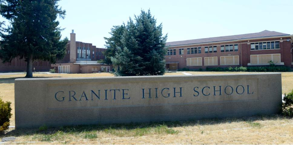 Al Hartmann  |  Tribune file photo The old Granite High School at 3300 S. 500 E. in South Salt Lake remains boarded up and now the school district has put out an RFP for demolition.   Developer Garbett Homes and Wasatch Property's plans for residential development is still on the table and the developer and school district doubt a nonprofit can come up with finances to purchase and preserve part of the school.