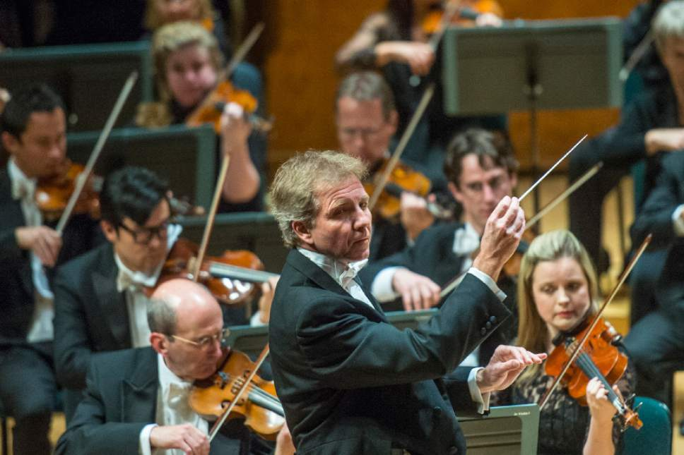 Chris Detrick     The Salt Lake Tribune Thierry Fischer conducts the Utah Symphony as they perform Beethoven's  Egmont Overture during their 75th Anniversary Gala Concert at Abravanel Hall Thursday October 1, 2015.