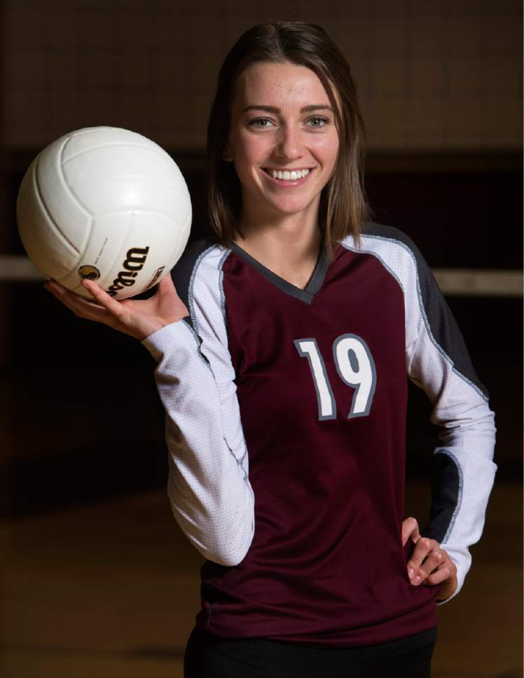 Rick Egan  |  The Salt Lake Tribune  Anna Cox, Morgan, poses for the All-Tribune volleyball photo shoot at Lone Peak High, Monday, November 28, 2016.