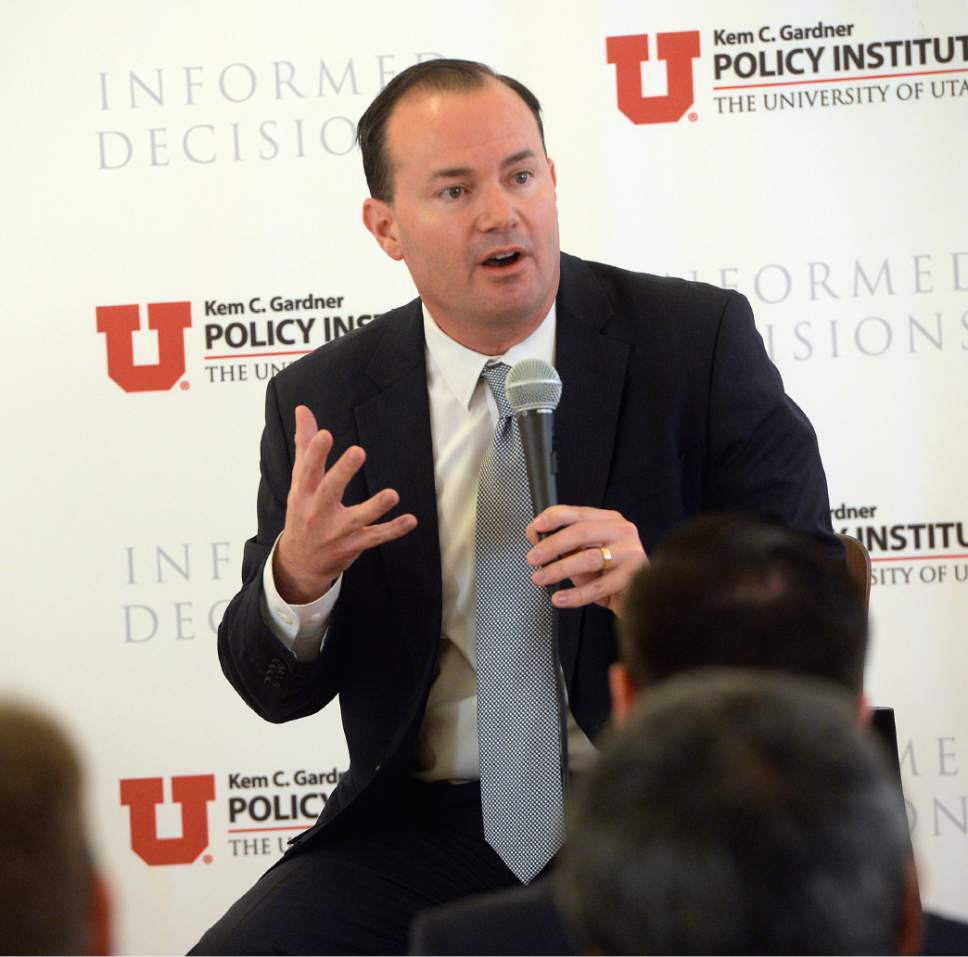 Al Hartmann  |  The Salt Lake Tribune Utah Senator Mike Lee speaks at ìNewsmaker Breakfast,î a monthly event highlighting current issues impacting the State of Utah in Salt Lake City Wednesday November 9.