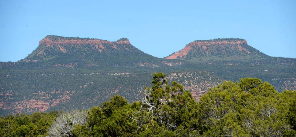 Al Hartmann     The Salt Lake Tribune Bears Ears buttes sit high over the surrounding canyon country in San Juan County.  The formations are at the heart of the proposed Bears Ears National Monument.