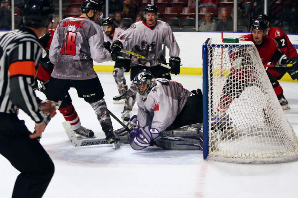 Josie Vimahi  |  Utah Grizzlies  Jay Stevens is a 43-year-old fireman who moonlights as an emergency backup goalie for the Grizzlies and other ECHL teams. He played for the first time ever last week and actually pitched a shutout for the last 10 minutes of the game in the Grizzlies win.