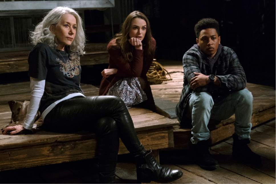 """This image released by Warner Bros. Pictures shows Helen Mirren, from left, Keira Knightley and Jacob Latimore in a scene from """"Collateral Beauty."""" (Barry Wetcher/Warner Bros. via AP)"""