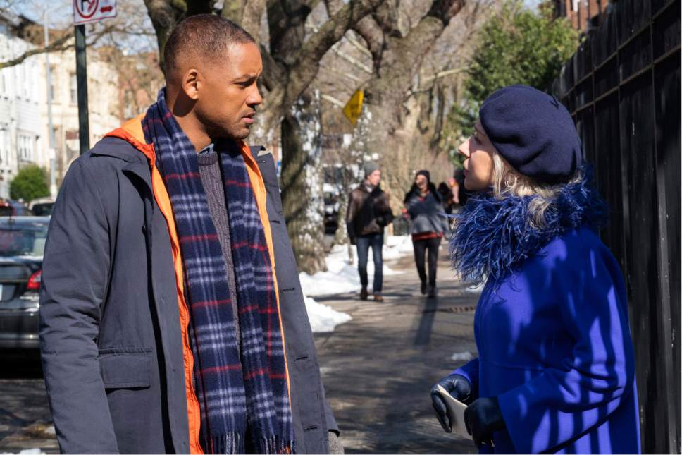 """This image released by Warner Bros. Pictures shows Will Smith, left, and Helen Mirren in a scene from """"Collateral Beauty."""" (Barry Wetcher/Warner Bros. via AP)"""