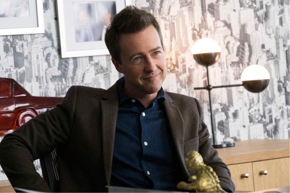 """This image released by Warner Bros. Pictures shows Edward Norton in a scene from """"Collateral Beauty."""" (Barry Wetcher/Warner Bros. via AP)"""