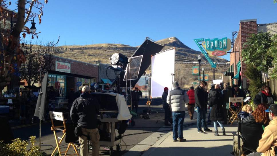 "Production of the upcoming Disney Channel series ""Andi Mack"" underway on Main Street in Magna. Disney  