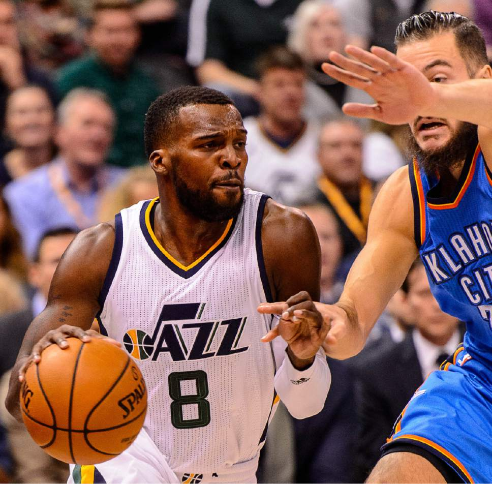 Trent Nelson  |  The Salt Lake Tribune Utah Jazz guard Shelvin Mack (8), defended by Oklahoma City Thunder center Joffrey Lauvergne (77), as the Utah Jazz host the Oklahoma City Thunder, NBA basketball in Salt Lake CityWednesday December 14, 2016.
