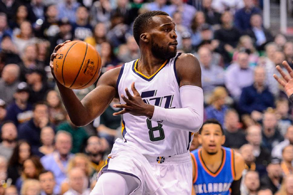 Trent Nelson  |  The Salt Lake Tribune Utah Jazz guard Shelvin Mack (8) looks to pass, as the Utah Jazz host the Oklahoma City Thunder, NBA basketball in Salt Lake CityWednesday December 14, 2016.