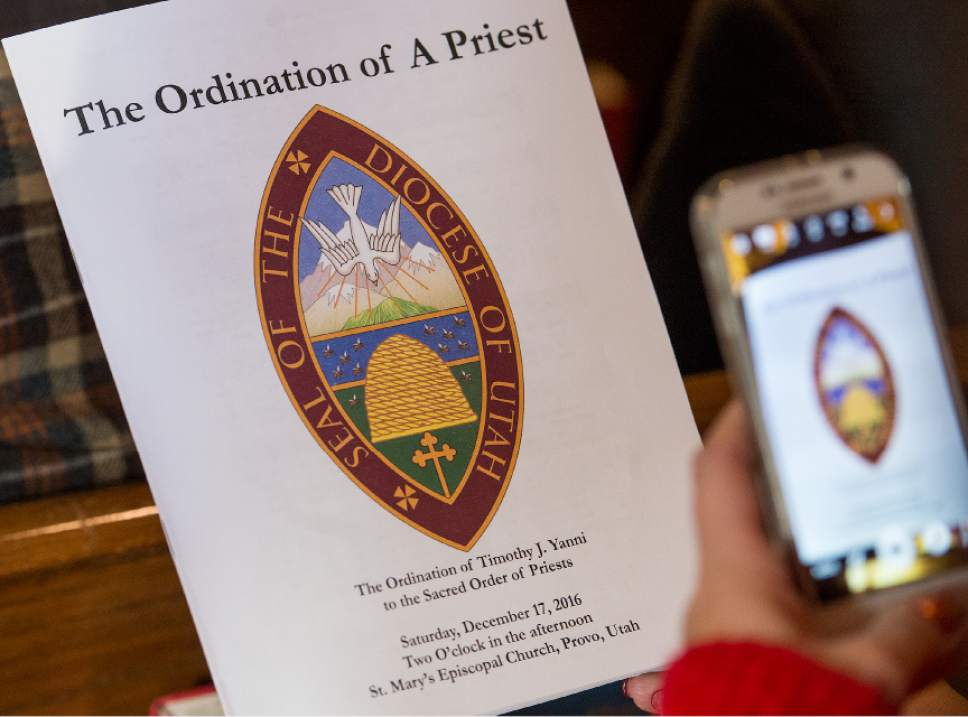 Leah Hogsten  |  The Salt Lake Tribune Rev. Timothy J. Yanni was ordained as priest in an elaborate ceremony at St. Mary's Episcopal Church in Provo, December 17, 2016.