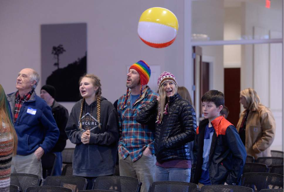 Scott Sommerdorf  |  The Salt Lake Tribune   Participants at a Sunday Assembly Salt Lake City sang and batted beach balls during an event earlier this month.