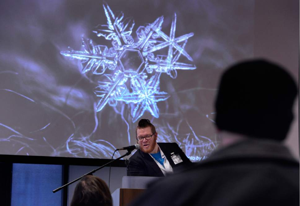 Scott Sommerdorf   |  The Salt Lake Tribune   Sunday Assembly Vice Chairman Brian Worley speaks about the science behind the way snowflakes form during Sunday Assembly Salt Lake City, Sunday, December 9, 2016.