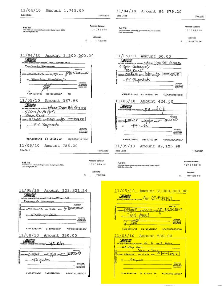 Records-- highlighted here by The Salt Lake Tribune --  from the now-shuttered SunFirst Bank in St. George show a check for $2 million was withdrawn from an online poker company's account on Nov. 5, 2010. Federal agents have said they could find no record of the check in documents they hold, so the could not verify its authenticity.