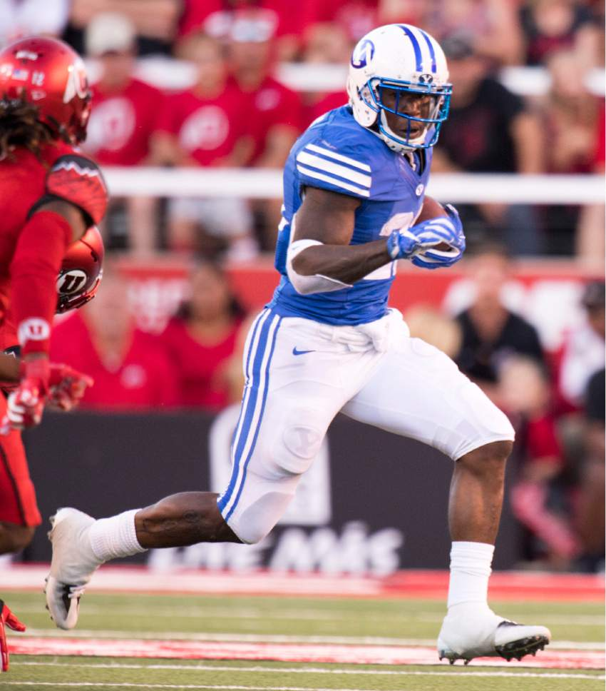 Rick Egan  |  The Salt Lake Tribune  Brigham Young running back Jamaal Williams (21) run the ball for the Cougars, in second quarter action, BYU vs. Utah at Rice-Eccles Stadium, Saturday, September 10, 2016.