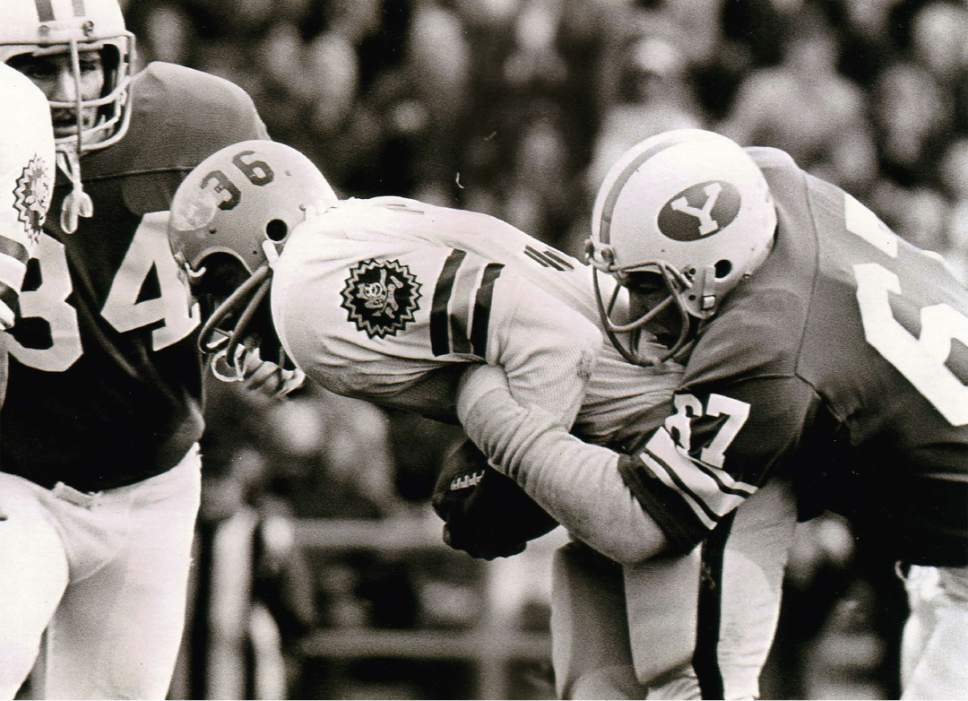 photo courtesy Larry Carr  Larry Carr is seen making a tackle during their championship game against ASU in 1974.