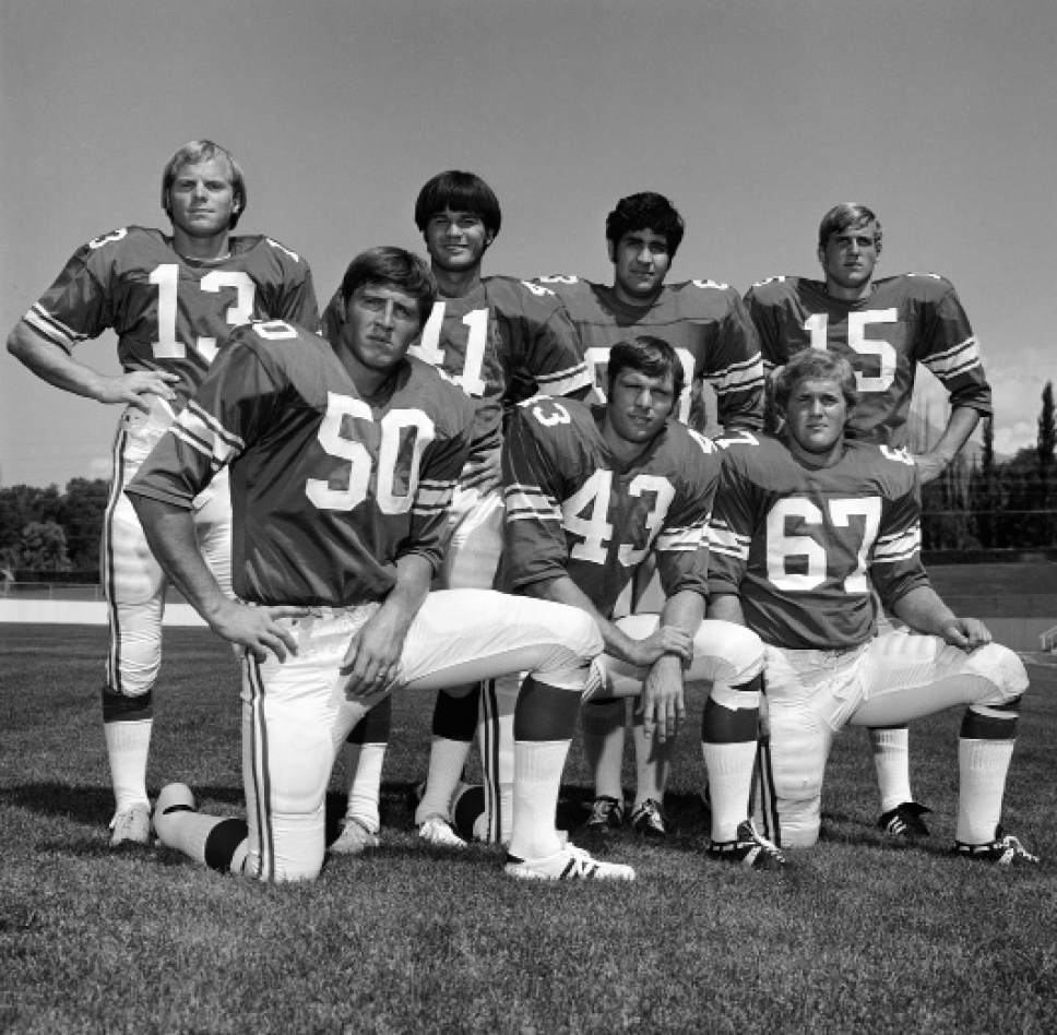 photo by Mark Philbrick/BYU  Members of the BYU football team, including Larry Carr (67), pose for a photo in 1973.