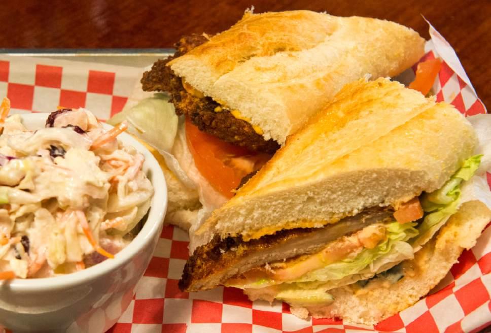 Rick Egan  |  The Salt Lake Tribune  The Po' Boy sandwich with cole slaw at SoCo.
