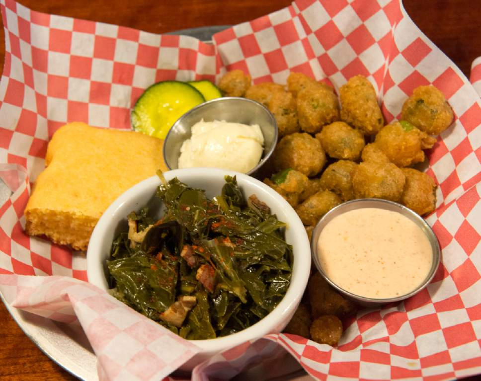 Rick Egan  |  The Salt Lake Tribune  Collard Greens with tempura-fried ocra, at SoCo a new restaurant that specializes in Southern comfort food, 319 Main St., Salt Lake City.