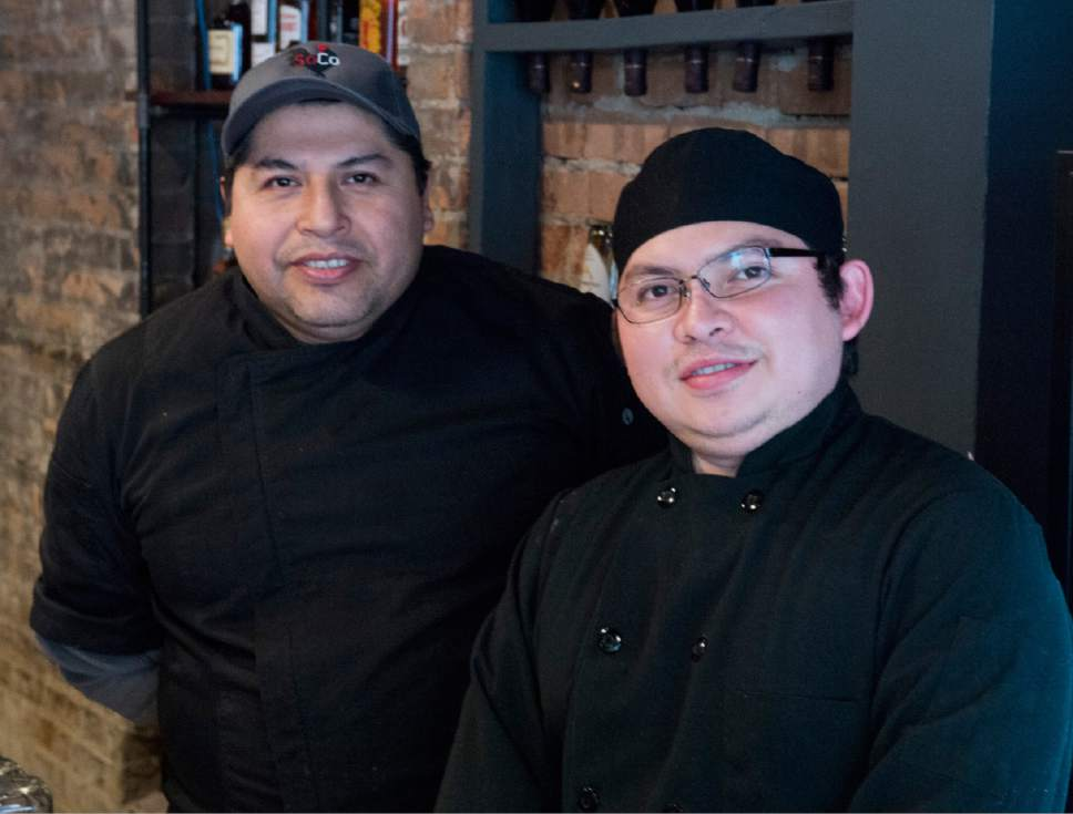 Rick Egan  |  The Salt Lake Tribune  Juan Islas, and Eddie Landa, are the chef's at SoCo a new restaurant that specializes in Southern comfort food, 319 Main Street, Salt Lake City,  Friday, December 9, 2016.