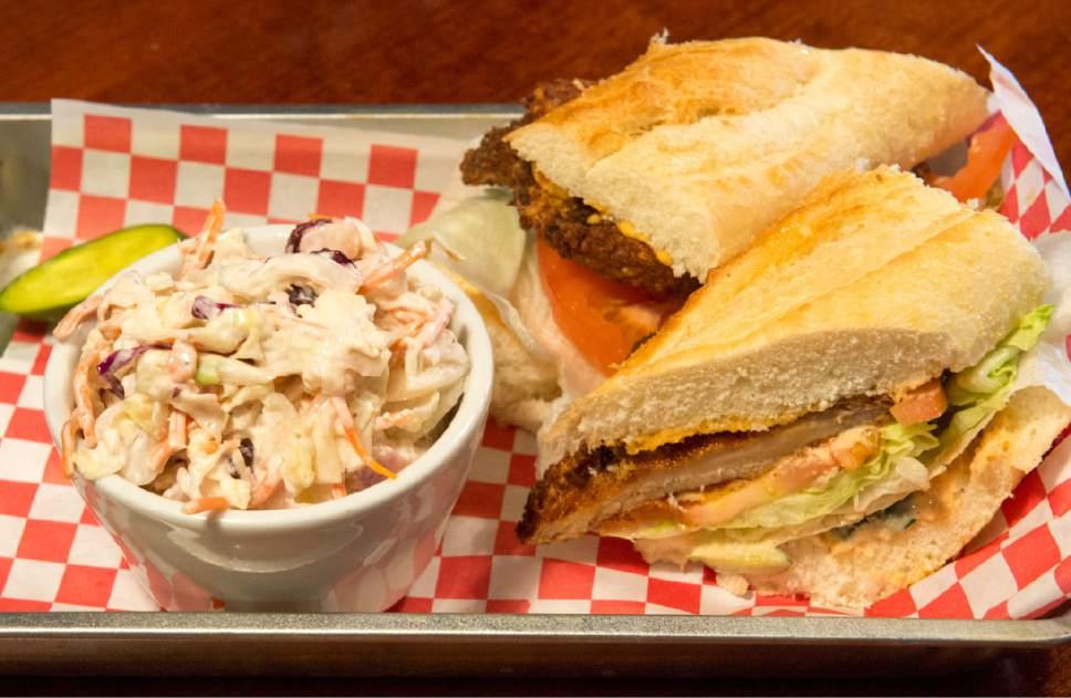 Rick Egan  |  The Salt Lake Tribune  The Po' Boy sandwich with cole slaw, at SoCo.