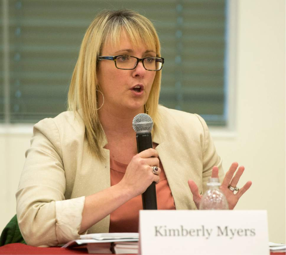 Rick Egan  |  The Salt Lake Tribune  Kimberly Myers. MSW, suicide prevention coordinator, Utah department of Human Services, says a few words, during a panel discussion on the prevention and treatment of teen suicide, at East High, Friday, December 16, 2016.